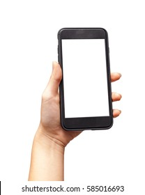 The hand holding the smartphone, playing games, clipping path.