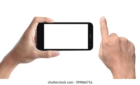 hand holding the smartphone and hand pointing finger isolated on white background.