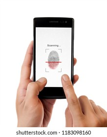 Hand holding smartphone with process of scanning fingerprint isolated on white background,unlock mobile phone