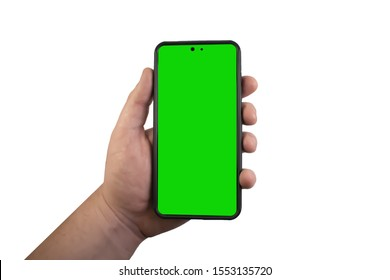 hand holding a smartphone ready to use