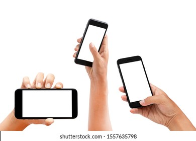 hand holding smartphone and touching screen isolated on white background - clipping paths