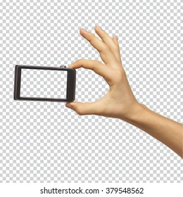 Hand holding smartphone with transparent blank screen on transparent background with clipping path