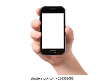 Hand holding smartphone with white, blank screen, isolated on white background