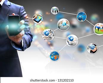 hand holding social media