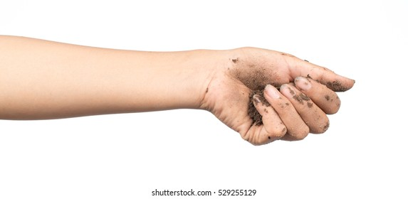 Hand holding soil isolated on white background