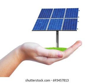 Hand holding solar panel isolated on white background. Photovoltaic panel generate clean energy.