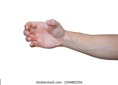 a hand holding something like a bottle or smartphone isolated on white background with clipping path.