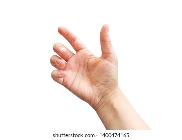 a hand holding something like a bottle or smartphone on white backgrounds, isolated
