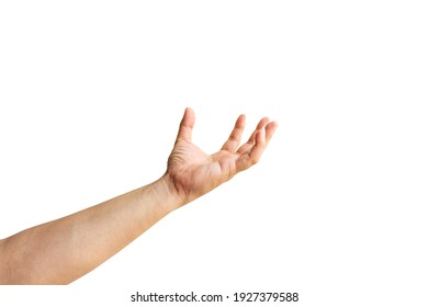 a hand holding something like a bottle or smartphone on white background, hand isolated on white background with clipping path.