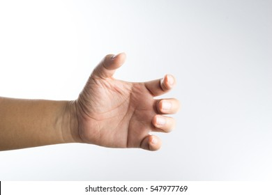 A hand holding something like a bottle on white background