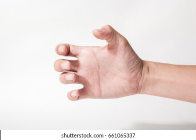 a hand holding something like a bottle on white backgrounds
