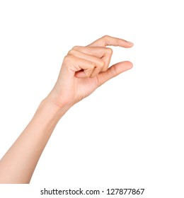 Hand holding something with space in blank on white