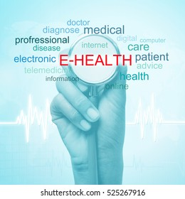 hand holding stethoscope with e-health word. medical concept