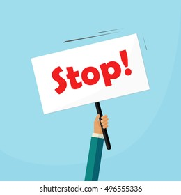 Hand holding stop placard illustration, concept of protest signboard, flat cartoon design image