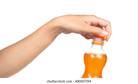 hand holding sweet drink soda water isolated on white background