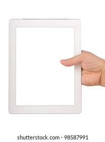 Hand holding a tablet computer with blank screen Isolated on white
