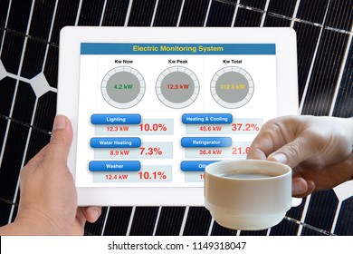 Hand holding tablet computer that showing simple application to monitoring energy usage while another hand holding coffee cup.