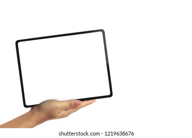 hand holding a tablet on white background