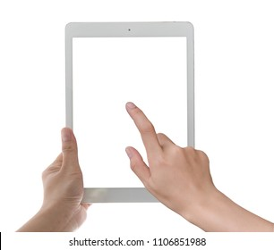 Hand holding tablet pc with touching hand. High quality and very detailed realistic  of tablet pc. Add clipping path for touching hand. Isolated on white.
