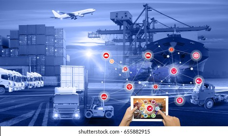 Hand holding tablet is pressing button on touch screen interface in front Logistics Industrial Container Cargo freight ship for Concept of fast or instant shipping, Online goods orders worldwide