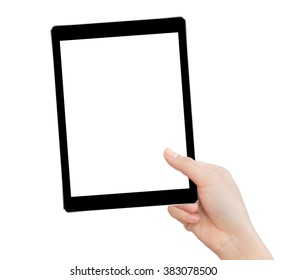 hand holding tablet similar to ipades style isolated clipping path inside