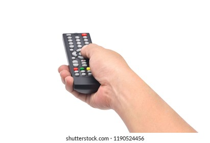 Hand holding television and audio remote control isolate on white background with clipping path