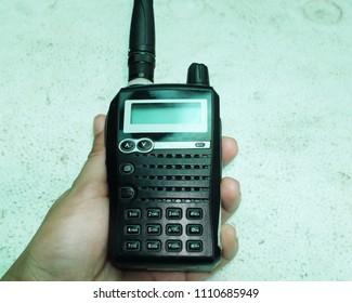 hand holding theradio transmitter