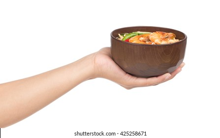 hand holding tom yam koong soup stock photo edit now 450966379