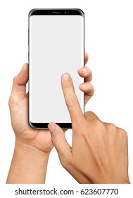 Hand holding and Touch on Big Screen Smartphone on white background