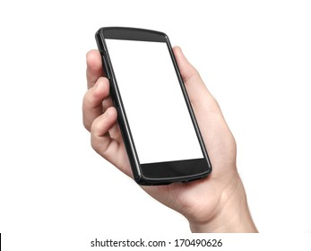 Hand holding and Touch on Black Smartphone with blank screen on white background. Clipping path included.