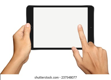 Hand holding and Touch on Small Black Tablet Computer on white background