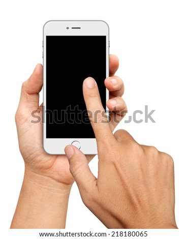Hand holding and Touch on White Smartphone on white background