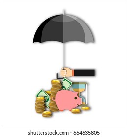 Hand holding umbrella under to protect money. money protection, financial savings concpet.  illustration in flat style