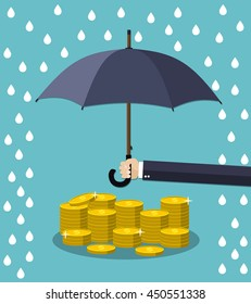 Hand holding umbrella under rain to protect money. money protection, financial savings concpet. illustration in flat style Raster version.