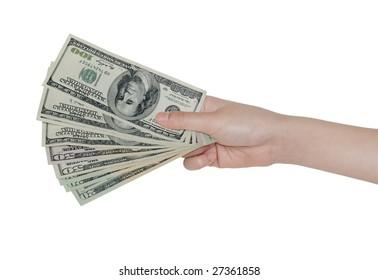 Hand holding US money isolated on white background