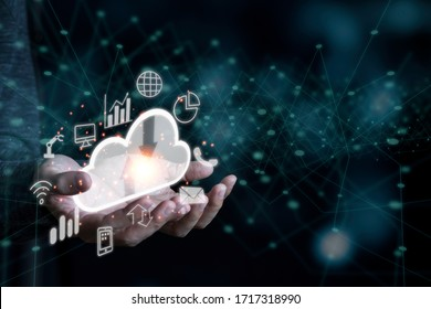Hand holding virtual artificial intelligence with cloud technology transformation and internet of thing .  Cloud technology management big data include business strategy , customer service.