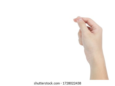 Hand holding a virtual card with fingers isolated with clipping path on white background. Adult hand to hold something