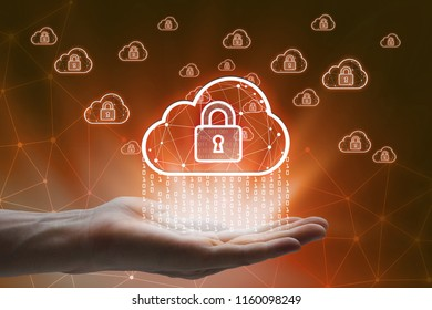 hand holding with virtual screen cloud computing and padlock Interface Icons global network  Cyber Security Data Protection Business Technology Privacy concept.