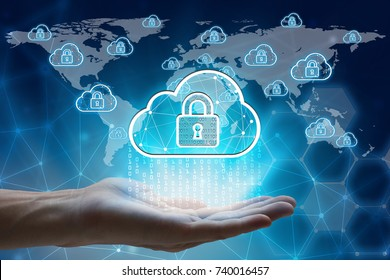 hand holding with virtual screen padlock and cloud computing global network  Cyber Security Data Protection Business Technology Privacy concept, Internet of global business, cloud computing concept.