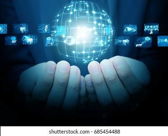 Hand holding virtual world