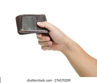 hand holding a wallet on a white background