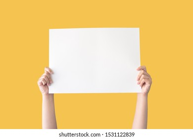 hand holding white blank paper isolated on yellow background with clipping path