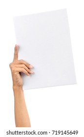 Hand holding white blank paper card, isolated on plain background.