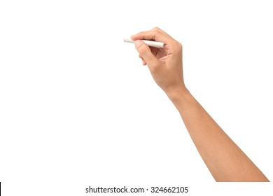 Hand holding white chalk and starting to write isolated on white background