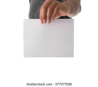 Hand holding white empty paper:Advertising