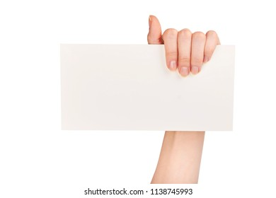 Hand holding white envelope form isolated