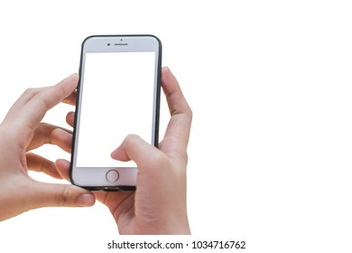 hand holding white phone isolated on white clipping path inside