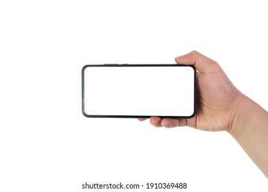 The hand is holding the white screen smartphone, with the white background and the clipping path.