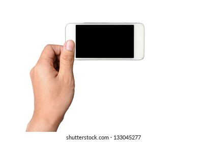 Hand holding white smart phone, playing games, clipping path