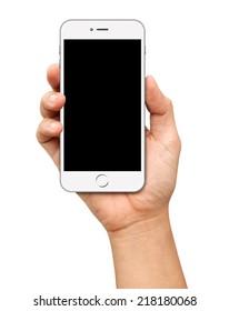 Hand, die weißes Smartphone mit weißem Hintergrund hält